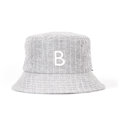 STRIPE BUCKET HAT (grey)