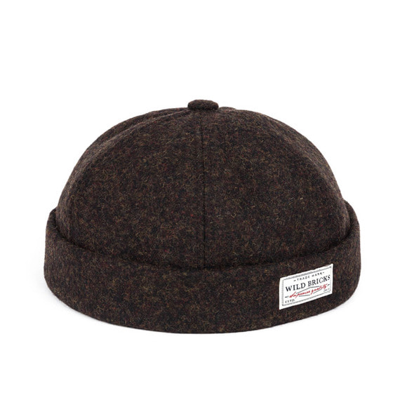 WOOL MELANGE BRIMLESS CAP (brown)