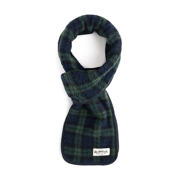 TARTAN CHECK FLEECE STOLE (green)