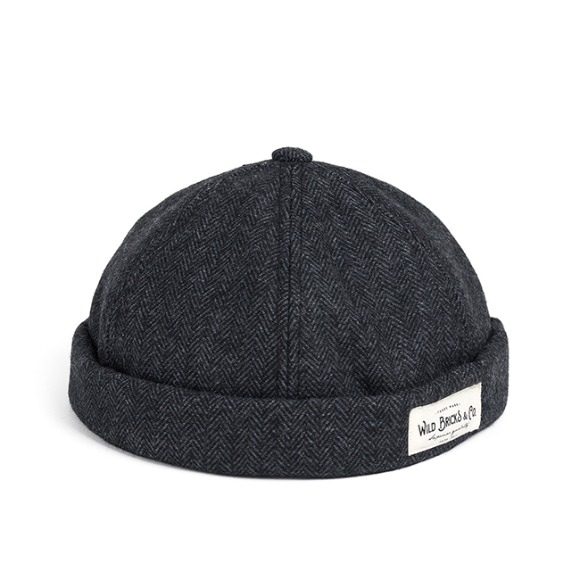 WOOL HERRINGBONE BRIMLESS CAP (grey)