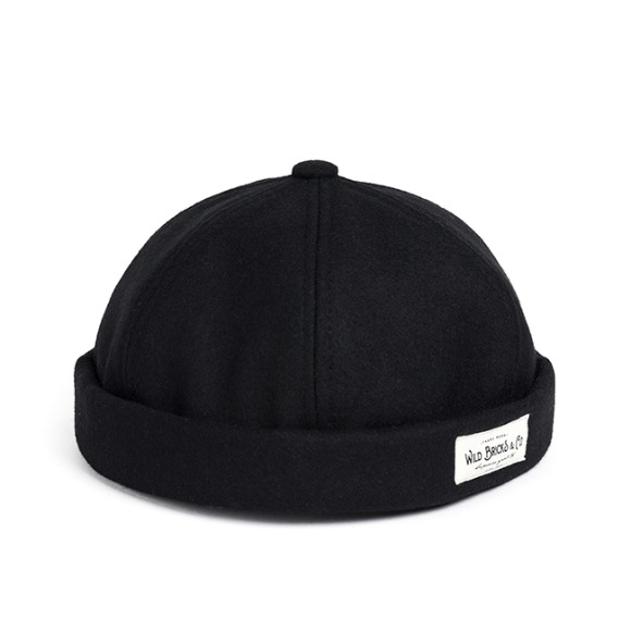 MELTON WOOL BRIMLESS CAP (black)