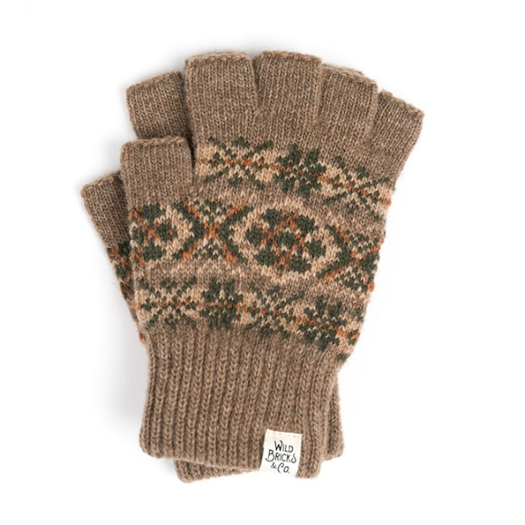 LW FAIR ISLE FINGERLESS GLOVES (beige)