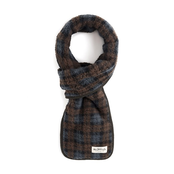 TARTAN CHECK FLEECE STOLE (brown)