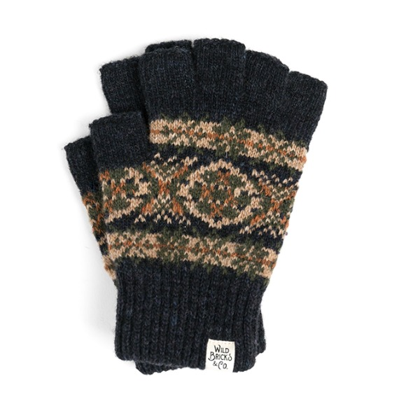 LW FAIR ISLE FINGERLESS GLOVES (navy)
