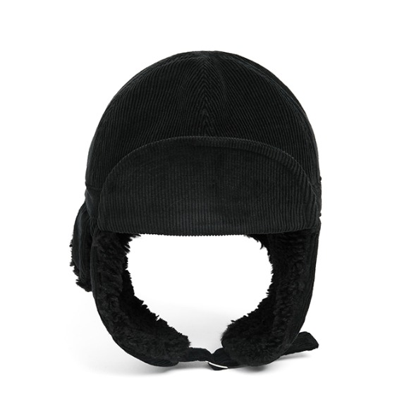 PL CORDUROY TRAPPER HAT (black)