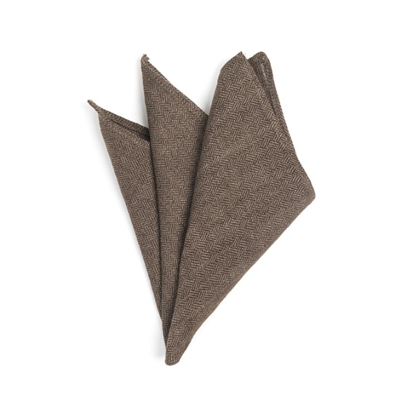 CRS CHECK LINEN POCKET SQUARE (brown)