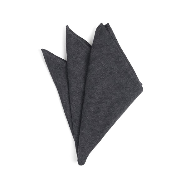 CRS CHECK LINEN POCKET SQUARE (navy)