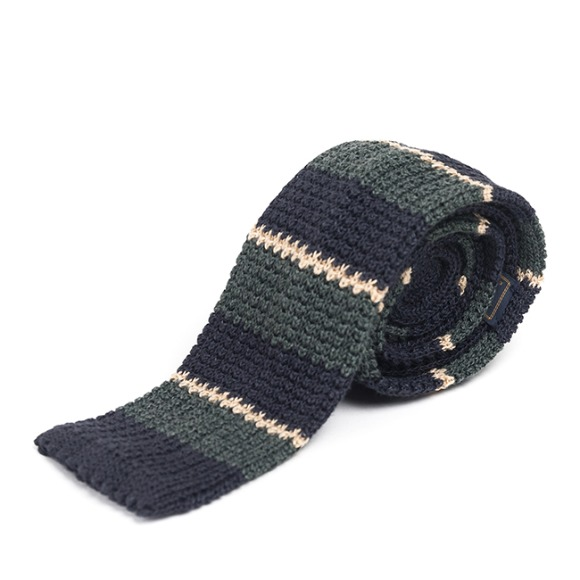 LAN STRIPE KNIT TIE (navy)
