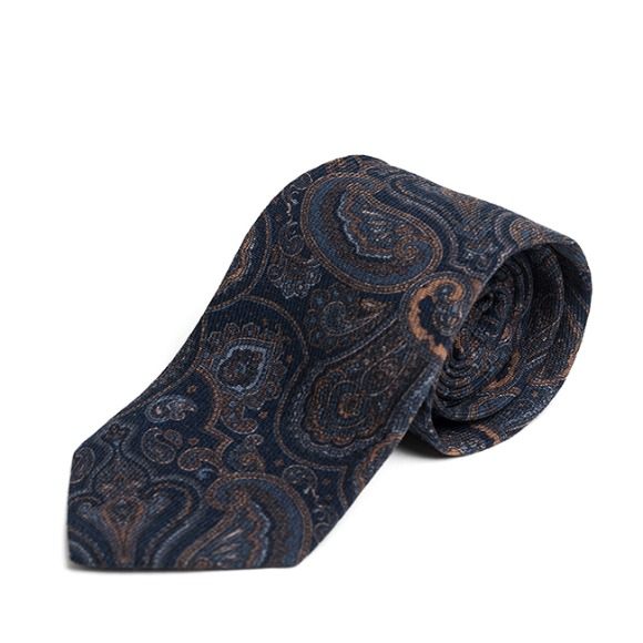 BP PAISLEY WOOL TIE (navy)