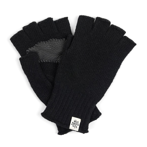 LEATHER PALM FINGERLESS GLOVES (black)